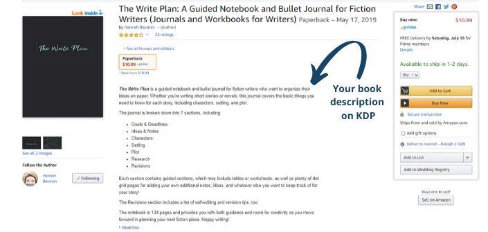 Your book description on Amazon's KDP