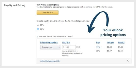 Your eBook pricing options on Amazon's KDP